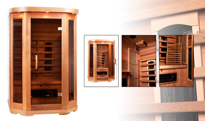 infrarood cabine red cedar 2 persoons actie 2395. Black Bedroom Furniture Sets. Home Design Ideas